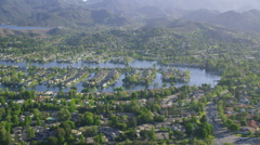 Aerial California Suburban Homes and boats Stock Footage
