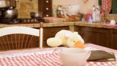 Stuffed toy duck in kitchen Stock Footage