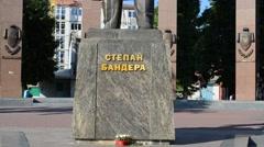Stepan Bandera monument. Lviv, Ukraine. Stock Footage