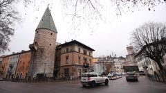 Winter street scene in north-italian Trento Stock Footage