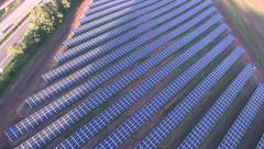 Solar panels drone flight, Aerial View, solar park, renewable energy Stock Footage