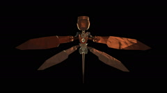 3D STEAMPUNK DRAGONFLY top view. ALPHA MATTE Stock Footage