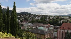 View of the city from the New castle. Baden-Baden. Germany Stock Footage