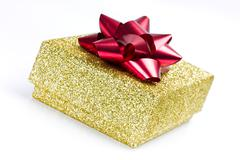 golden present box - stock photo