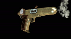 3D STEAMPUNK GUN with GAUGE. ALPHA MATTE Stock Footage