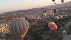 Flying Balloons In Cappadocia 02/13 Stock Footage