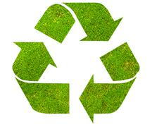Recycle symbol with green moss texture Stock Photos