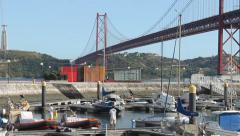 Marina and Suspension Bridge Stock Footage