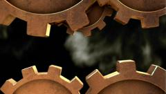 3D STEAMPUNK GEARS MOVEMENT horizontal. ALPHA MATTE Stock Footage