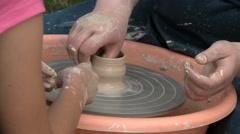 Potter working the clay Stock Footage