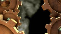 3D STEAMPUNK GEARS MOVEMENT vertical. ALPHA MATTE Stock Footage