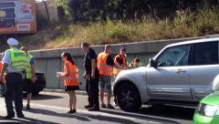 Car accident on the highway Stock Footage