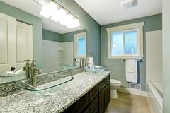modern bathroom interior in soft aqua color - stock photo