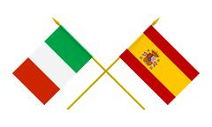 flags, italy and spain - stock illustration