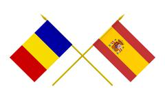 flags, romania and spain - stock illustration