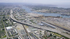 Aerial view of California road highways Stock Footage
