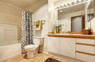 Soft creamy bathroom interior Stock Photos
