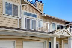 Residential building exterior. view of balcony with windows Stock Photos