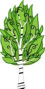 Cartoon birch tree. isolated Stock Illustration