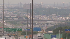 Haze humidity smog and traffic over the 401 in Toronto on hot summer day Stock Footage