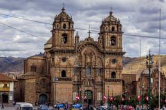 Society of jesus church plaza de armas cuzco peru Stock Photos