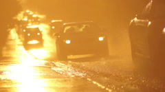 Wet Road at Sunset Stock Footage