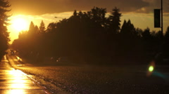 Rainy Road at Sunset Stock Footage
