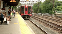 Elevated Track Platform Station Metro North Commuter Rail Train in New York Stock Footage