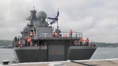 warship with missiles - The flagship of the Russian Black Sea fleet - stock footage