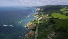 Aerial view of Californian coast - stock footage
