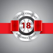 Adult content warning badge Stock Illustration