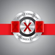 metallic badge with adult content inscription - stock illustration