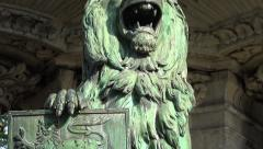 4k Historic fountain with lion sculpture tilt view Stock Footage
