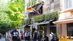 Rainbow flags at a London Street Stock Footage