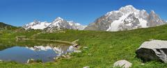 south face of mont blanc - stock photo