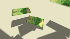 Growing Pile Of Hundred Euro Notes.Finances banking wealth - stock footage