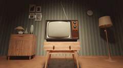 Old Vintage Television In House with Green Screen - stock footage