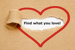find what you love torn paper - stock illustration