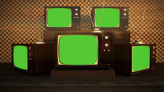 Old retro vintage televisions on displace in vintage shop Stock Footage