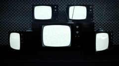 Old retro vintage televisions on displace in vintage shop - stock footage