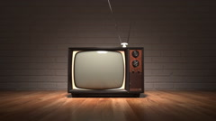 Old Vintage Television Set. Retro Color TV. Oldschool. - stock footage