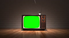 Old Vintage Television Set. Retro Color TV. Oldschool. Stock Footage