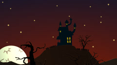 Spooky Halloween Haunted House On the hill with moon Ghosts mystery mansion Stock Footage