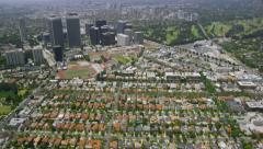 Aerial view California houses and skyscrapers Stock Footage