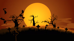 A Creepy Graveyard Halloween Background Scene. Zombie Spooky Moon Pumpkin Stock Footage