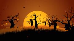 Zombies Walking At Spooky Graveyard. Spooky Scary Haloween Stock Footage
