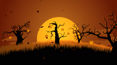 A Creepy Graveyard Halloween Background Scene. Spooky Trees Pumpkin Stock Footage
