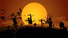 Zombies Walking At Spooky Graveyard. Spooky Scary Haloween - stock footage