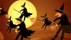 Halloween Witches Flying On Broomstick Stock Footage
