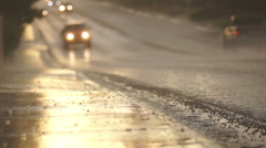 Stock Video Footage of Rainy Sunset Road